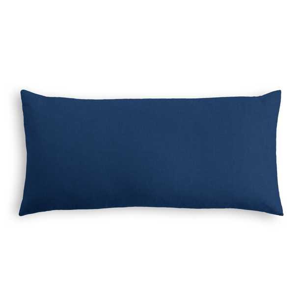 """Classic Linen Pillow, Navy Blue, 12"""" x 18"""" Lumbar - Havenly Essentials"""