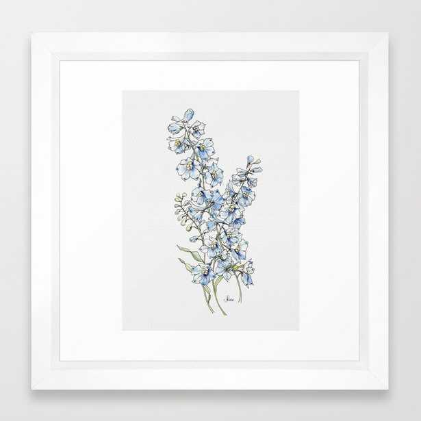 Blue Delphinium Flowers Framed Art Print - Society6