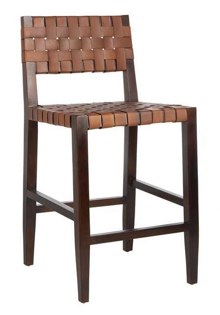 Paxton Woven Leather Counter Stool - Cognac - Arlo Home - Arlo Home