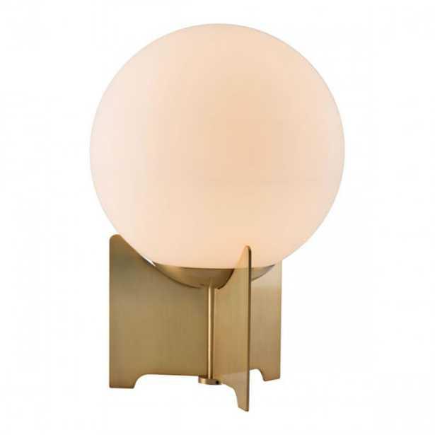 Pearl Table Lamp White & Brushed Bronze - Zuri Studios