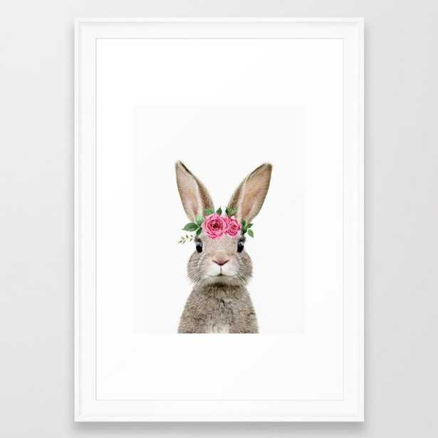 Baby Bunny with Flower Crown Framed Art Print - scoop white - 15x21 - Society6