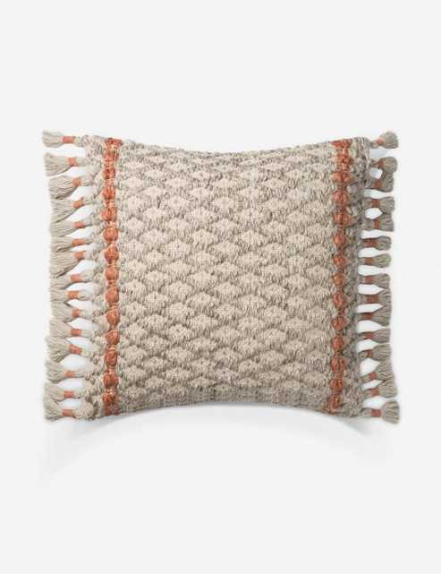 CHELLES PILLOW, GRAY AND RUST, w/ poly insert - Lulu and Georgia
