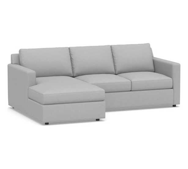 Sanford Square Arm Upholstered Right Arm Sofa with Chaise Sectional, Polyester Wrapped Cushions, Brushed Crossweave Light Gray - Pottery Barn