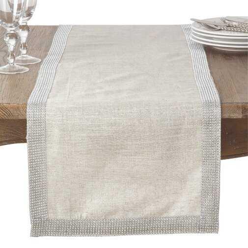 "Caledonia Modern Block Stripe Table Runner, Silver, 108"" x 16"" - Wayfair"