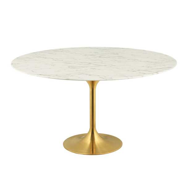 """Lippa 60"""" Round Dining Table - Gold/White (Artificial Marble) RESTOCK 06-08-2022 - Modway Furniture"""