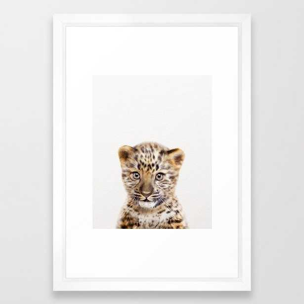 """Baby Leoard, Baby Animals Art Print By Synplus Framed Art Print with Vector White Frame - 15""""x21"""" - Society6"""