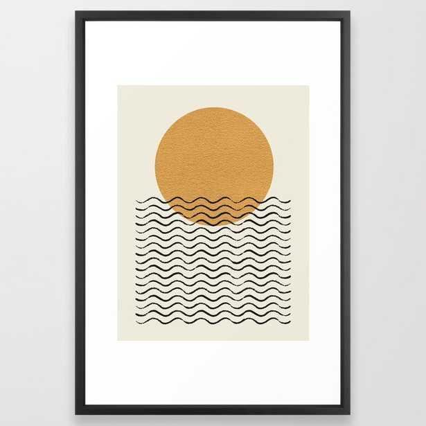 Ocean wave gold sunrise - mid century style Framed Art Print - Society6