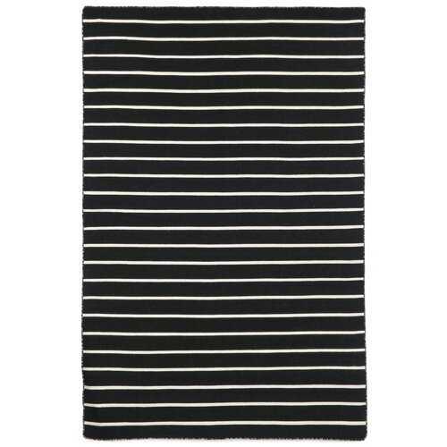 """Ranier Pinstripe Hand-Woven Black Indoor/Outdoor Area Rug 7'6"""" x 9'6"""" (Back in Stock Aug 2, 2020) - Wayfair"""