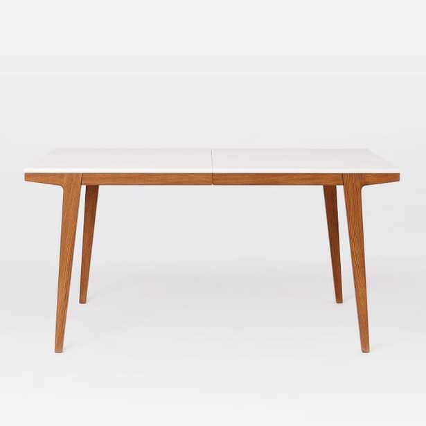 """Modern Expandable Dining Table, 60-80"""", White Lacquer, Pecan - West Elm"""