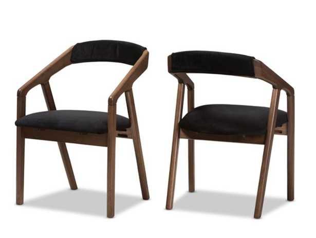 Wendy Mid-Century Modern Black Velvet and Walnut Medium Brown Wood Finishing Dining Chair (Set of 2) - Lark Interiors
