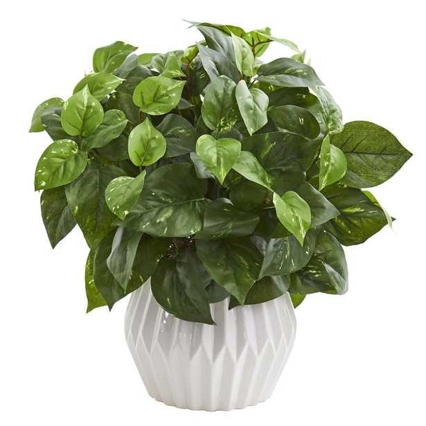 "Pothos Artificial Plant in White Ceramic Vase, 16"" - Fiddle + Bloom"