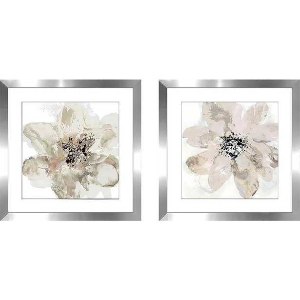 """Corolla III - Neutral by Tania Bello - 2 Piece Picture Frame Print Set on Paper, White Matte, 16.5"""" H x 33"""" W x 1"""" D - Wayfair"""