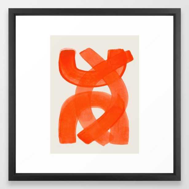 Mid Century Modern Abstract Painting Orange Watercolor Brush Strokes Framed Art Print - Society6