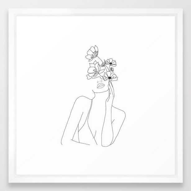 Minimal Line Art Woman with Flowers Framed Art Print - Society6