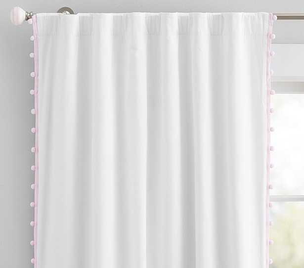 """Cotton Pom Blackout Curtain, 96"""", Light Pink - Pottery Barn"""