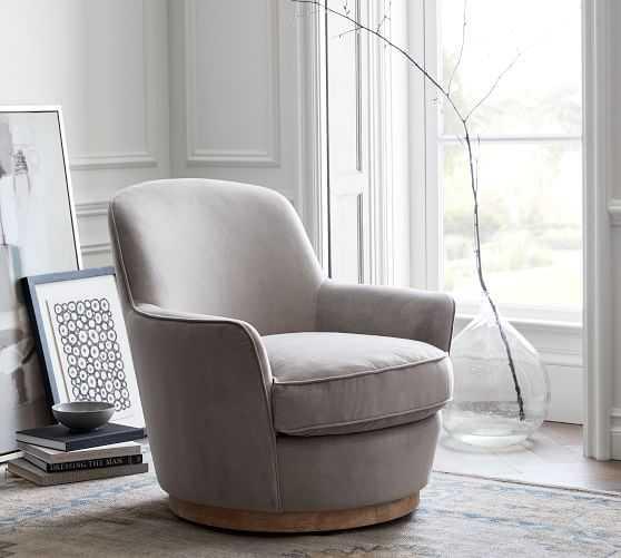 Larkin Upholstered Swivel Armchair, Polyester Wrapped Cushions, Performance Everydayvelvet(TM) Carbon - Pottery Barn