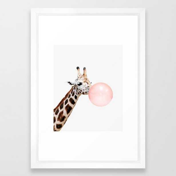 Giraffe, Bubble gum, Pink, Animal, Nursery, Minimal, Trendy decor, Interior, Wall art Framed Art Print - Society6