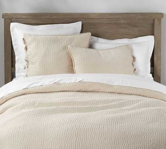Pick-Stitch Handcrafted Quilt, king, Flax - Pottery Barn