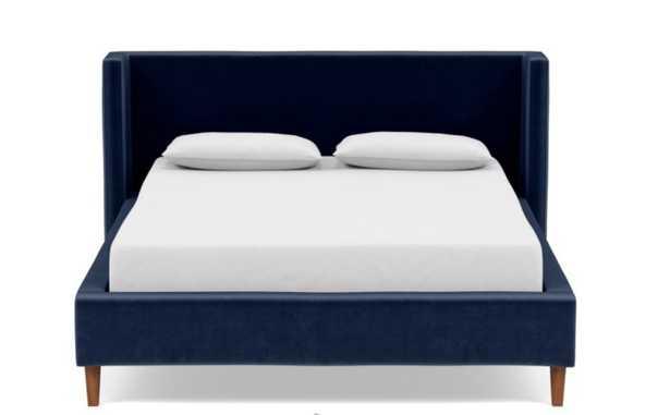 OLIVER Queen Fabric Bed Frame, Bergen Blue mod velvet - Interior Define