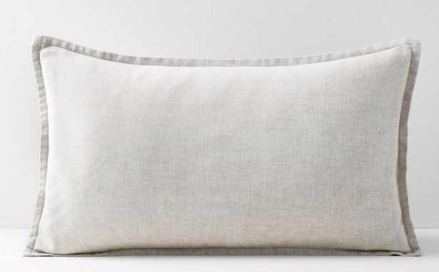 """Belgian Flax Linen Lumbar Pillow Cover, Natural Flax, Fiber Dye, 12""""x21"""" - West Elm"""