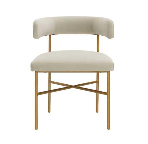 Rachel Performance Velvet Chair in Cream - Maren Home
