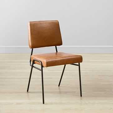 Wire Frame Dining Chair Leather Saddle, Gunmetal - West Elm