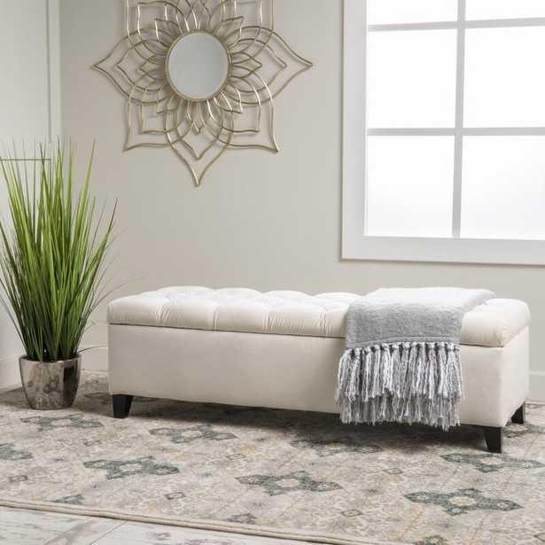 Amalfi Upholstered Flip top Storage Bench, Ivory - Birch Lane