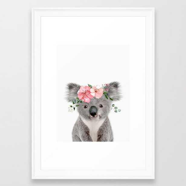 Baby Koala with Flower Crown Framed Art Print - scoop white - 15x21 - Society6