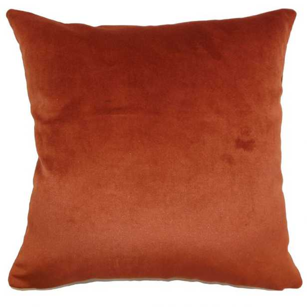 "Juno Solid Pillow Rust, Lumbar 12""x18"" with Down Insert - Linen & Seam"