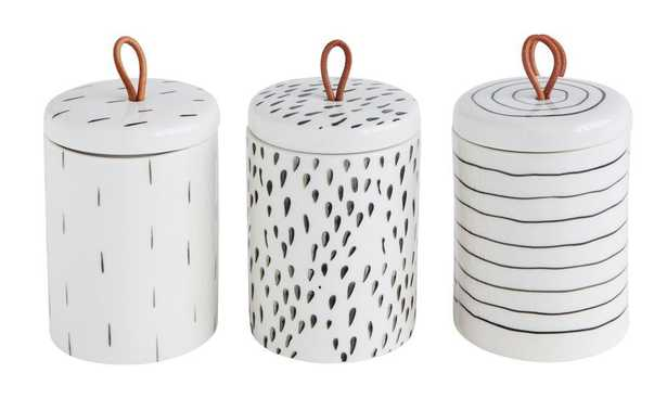 Set of 3 Stoneware Container w/ Lid & Leather Pull - Perigold