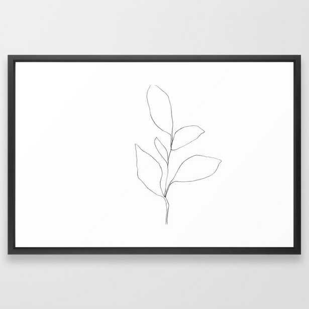 Five Leaf Plant Minimalist Line Drawing - Horizontal Framed Art Print - Society6