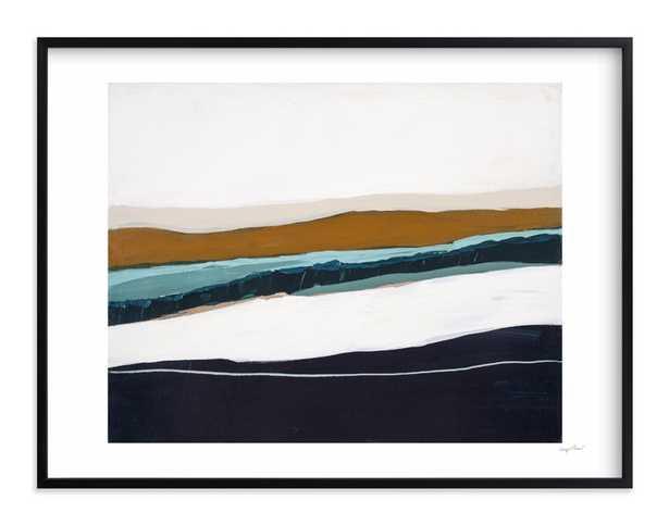 "Moonlight Seascape - 40"" x 30"", black frame, white border, signature - Minted"