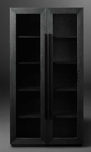 "MACHINTO GLASS DOUBLE-DOOR CABINET - Black Oak & Bronze, 48""x91"" - RH Modern"