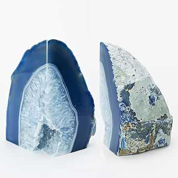Agate Bookends, Set of 2, Blue - West Elm