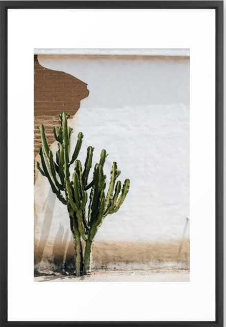 "California Cactus Framed Art Print - Vector Black 26""x38"" - Society6"