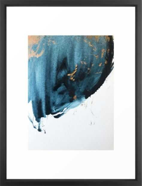 Sapphire and Gold Abstract Framed Art Print-Black Frame: 20 x 26 - Society6