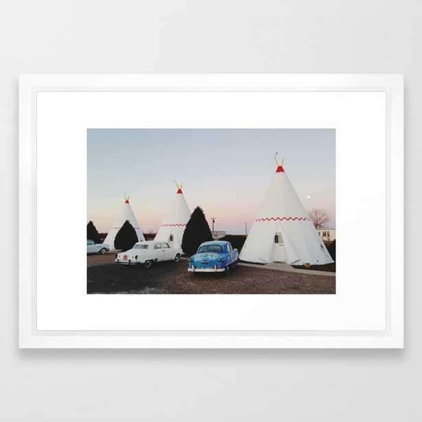 Wigwam Motel Framed Art Print -Vector White - Society6