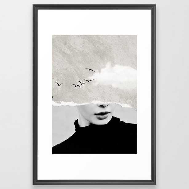 "minimal collage /silence Framed Art Print - Vector Black, 26"" x 38"" - Society6"