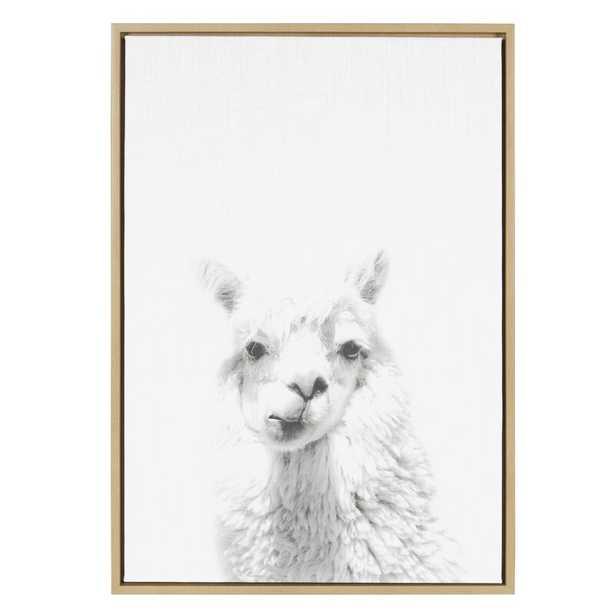 Sylvie Graywash Giraffe by Simon Te Tai - Picture Frame Photograph Print on Canvas - AllModern