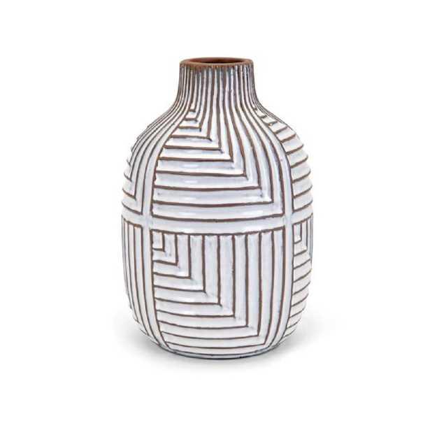 IMAX Ella White Medium Vase - Home Depot
