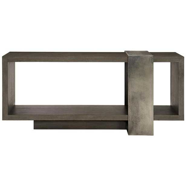 Landon Modern Masculine Charcoal Brown Wood Silver Cast Aluminum Console Table - Kathy Kuo Home
