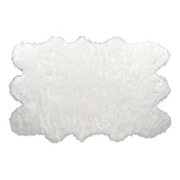 Anvi Faux Fur White Area Rug - Wayfair