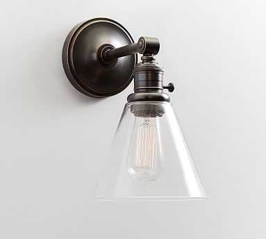 Clear Glass Hood + Bronze finish Sconce Kit, Small - Pottery Barn