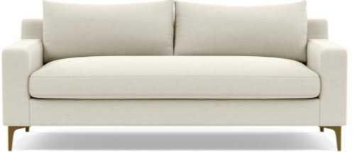 SLOAN Fabric 2-Seat Sofa, Chalk, Brass-Plated Slon L Leg - Interior Define