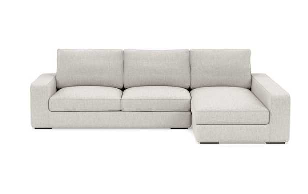 Ainsley Right Sectional with Beige Wheat Fabric and Matte Black legs - Interior Define