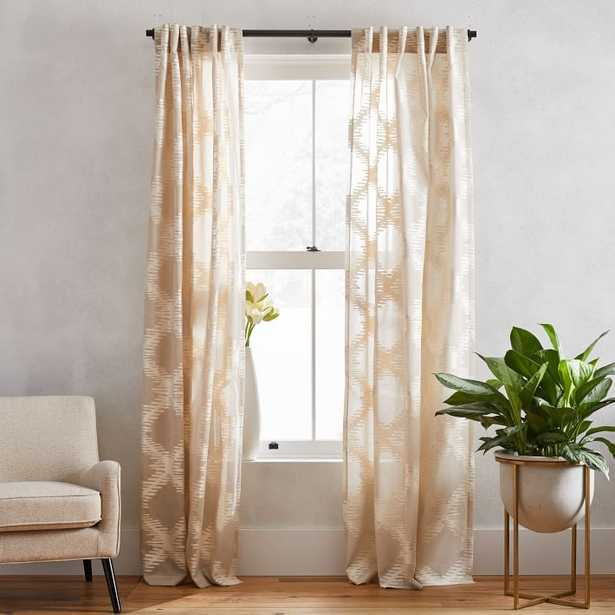 """Trellis Ogee Clipped Jacquard Curtain,Belgian Flax/Ivory, 48""""x96"""" - West Elm"""