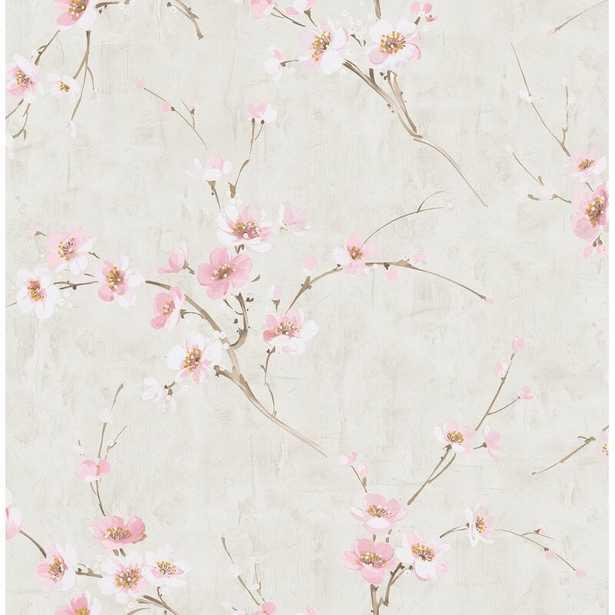 """Artie Dogwood Floral 33' x 20.5"""" Metallic/Foiled Wallpaper Roll - Wayfair"""