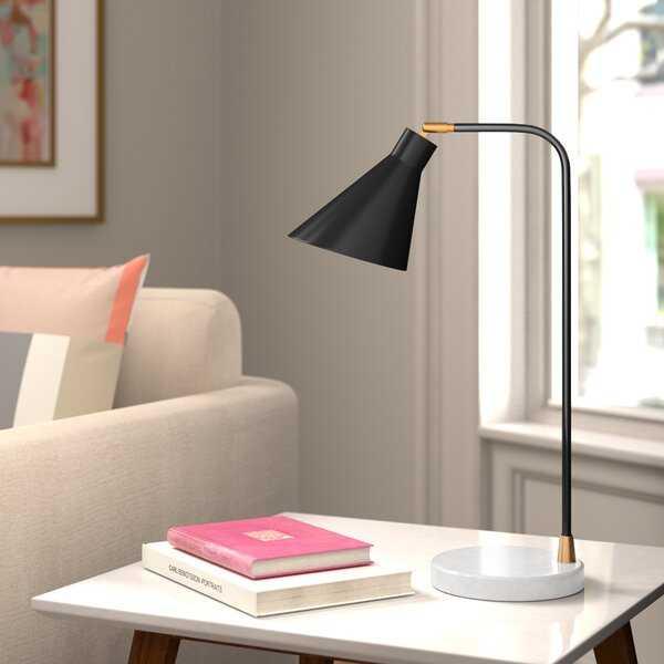 "Mazie 21"" Adjustable Black Metal Desk Lamp - Wayfair"
