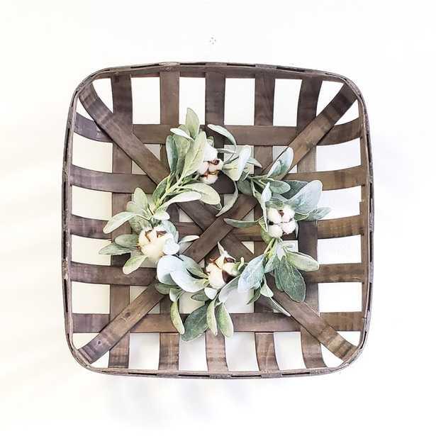 Tobacco Basket with Lambs Ear Wreath Wall Décor - Wayfair