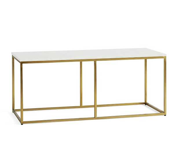 Delaney Rectangular Coffee Table, White Marble - Pottery Barn